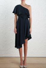 Zimmermann Sueded One Shoulder Mini Dress | Navy Cocktail Bridesmaid | $700 RRP