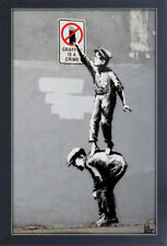 BANKSY GRAFFITI IS A CRIME 13x19 FRAMED GELCOAT POSTER STREET ART ARTIST PAINT!!