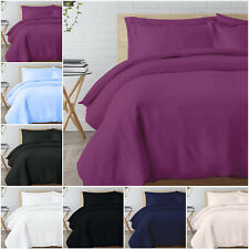 BRUSHED FABRIC DUVET QUILT COVER WITH PILLOWCASE BEDDING SET SINGLE DOUBLE KING