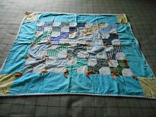 Antique Vintage Turquoise And Yellow Bow Tie (Bowtie) Lap Quilt