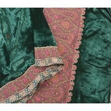 Sanskriti Vintage Green Heavy Dupatta Velvet Hand Beaded Patch Work Scarf Stole