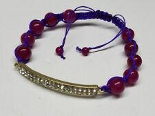 CURVED BAR BRAIDED SHAMBALLA BEADED ROPE BRACELET-Purple & Red -Rhinestone
