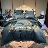 Luxury Embroidery 100S Egyptian Cotton Palace 4/6pcs Bedding Set Cover Bed Sheet