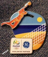 Beach Volleyball Olympic Sponsor Pin~Woman's~2016 RIO Logo~Slider~3D~GE~Brazil