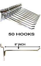 50 PCS 8'' INCH SLATWALL SLAT BOARD HOOKS ACCESSORY SINGLE SHOP RETAIL DISPLAY