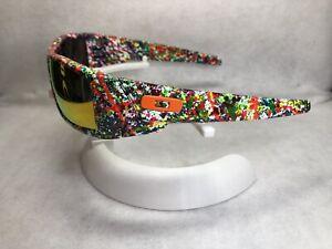 Customized Oakley Gascan Sunglasses Neon Splatter W/ Fuse Red Polarized Lenses