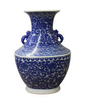 Chinese Blue White Porcelain Scroll Pattern Graphic Wide Body Vase cs2987