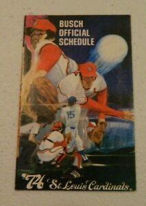 1974 St Louis Cardinals Baseball Pocket Schedule Busch Bavarian Beer