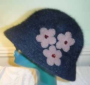 20S STYLE BLACK CLOCHE FELTED BROWN FLOWERS ELEGANT CHIC HAT M/L MIXED FIBRES