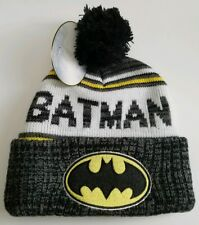 DC Comics Batman Pom Pom Beanie Knit Cuffed Cartoon Dark Knight Grey