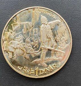 1969 TUNISIA COMMEMORATIVE HANNIBAL ELEPHANTS SILVER PROOF 1 DINAR COIN
