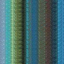 NORO ::Taiyo #124:: cotton silk wool yarn Blues-Lime-Browns-Aqua Olive
