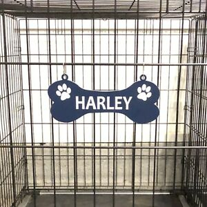 "Dog Bone Crate Name Plate Kennel Pet Tag 20+ Color Options - ""S"" Hooks Included"