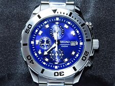 New SEIKO Men's Watch Analogue Chronograph WR 100M Blue Face