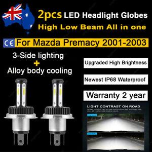 For 2002 Mazda Premacy Wagon Headlight Globes High Low Beam 6000k white LED Bulb