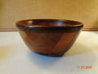 Vintage Multicolored Wood Inlay Inlaid Farmhouse Kitchen Bowl