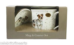 German Shepherd / Jack Russell CHINA Mug & Coaster Gift Boxed Great PRESENT IDEA