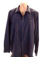 CALVIN KLEIN MENS CHARCOAL & BLACK STRIPED BUTTON DOWN DRESS SHIRT SIZE XXL