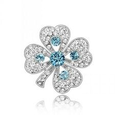 18K WHITE GOLD PLATED TURQUOISE GENUINE CZ & AUSTRIAN CRYSTAL SHAMROCK BROOCH .