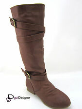 Women's Fashion Shoes Boots Slouch Knee High Flat Motorcycle Riding Round Toe 61