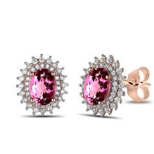 Tourmaline Cluster Stud Earrings 18k Solid Rose Gold 2.28 Cttw
