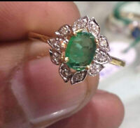 Details about  /Handmade 925 Silver Ring Natural Emerald Gems With Polki Diamond Ring Gift Ring