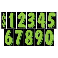 Black 24 packs Car Dealer Windshield Stickers 7 1//2 Inch Numbers Chartreuse