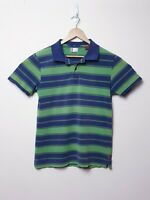 Levis Mens Size L Large Dark Blue Green Striped Collared Short sleeve Polo Shirt