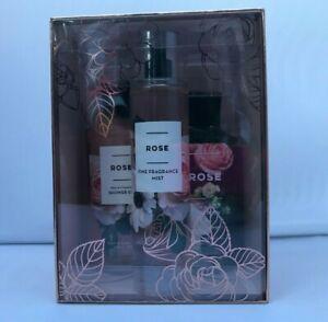 GIFT SET Bath & Body Works  ROSE  Fragrance Mist-Body Lotion-Shower Gel
