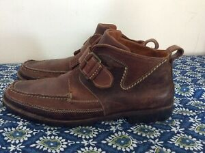Vintage Cole Haan Leather Ankle Boot Buckle Strap Brown Mens 12M Handsewn Brazil