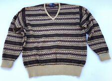 Mens Polo Ralph Lauren V-Neck Sweater Sz XL Fair Isle Tan Brown Wool Cotton VTG