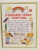 Teddy Bear Baby Counted Cross Stitch Pattern Janlynn 100 Years 12.5x15.5 inch