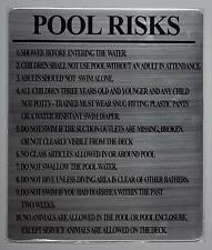 New listing Pool Risks Sign (Silver, Rust Free Aluminium 10x12)(ref1820)