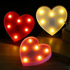 Cute 3D Heart Led Night Light Christmas Wall Lamps Nursery Kids Bedroom Decor