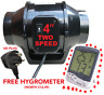 """In-line Mix Flow Fan 100mm Twin Speed 4"""" inch  Exhaust UK Plug FREE HYGROMETER"""