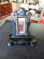Antique Black Lacquer & Mother of Pearl Victorian Standing Picture Frame