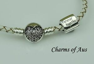 925 White leather Love of my Life Bracelet & Forever Together charm. Christmas.