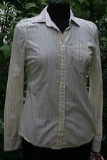 American Eagle Outfitters Favorite Shirt 4 Yellow Blue Pin Stripe Top AE Womens