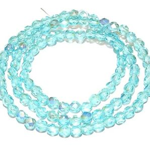 CZ2121 Light Aqua AB Blue 4mm Fire-Polished Faceted Round Czech Glass Beads 16""