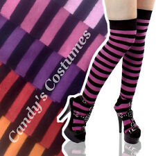 RED~PINK~PURPLE Striped OVER-THE-KNEE Costume SOCKS Thigh-High COSPLAY Halloween