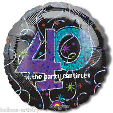 "18"" BLACK 40th Birthday Prismatic Foil Balloon Party"