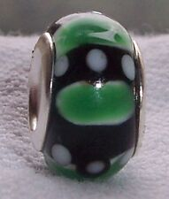 Green Black White Murano Glass Bead for Silver European Style Charm Bracelets