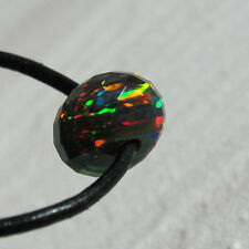 synth. black opal rondell  perle gebohrt, facettiert, 10x6mm, 2mm bohrung
