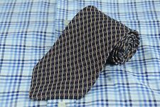 Essex Row Men's Tie Black Blue & Gold Geometric Silk Necktie 56 x 3.75 in.