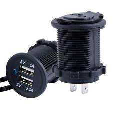 Dual USB 2.0 5V 2.1A Car Charger Flush mount Socket 12V Volt DC Marine