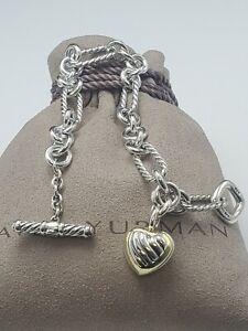 David Yurman 18k Yellow Gold 925 sterling silver Figaro Link Bracelet Heart 7.25