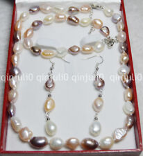 There box 9-10mm Multi-colored Freshwater Pearl Necklaces Bracelet Earring JN571