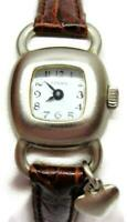 Fossil Woman Wristwatch Brown Leather Heart Band Watch Analog Quartz New Battery