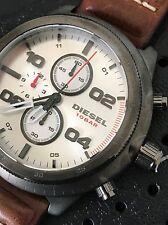 Diesel Men's DZ4438 Brown Leather Gunmetal Tone Padlock Chronograph Watch NWT