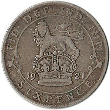 1921 Great Britain (UK) 6 Pence Silver Coin KM#815a.1
